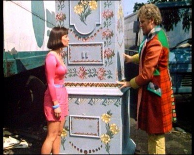 The Doctor, Peri, and Dresser TARDIS