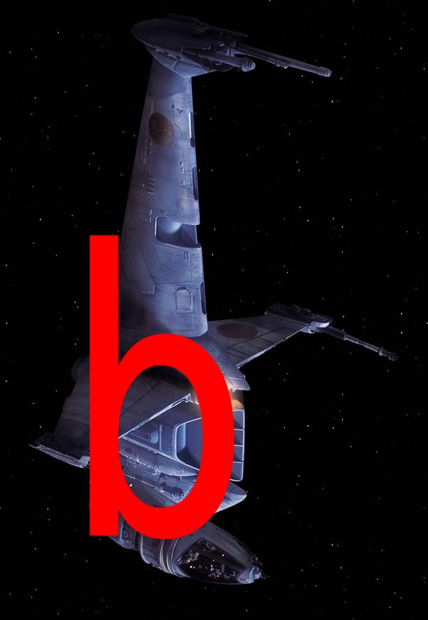 B-wing with letter