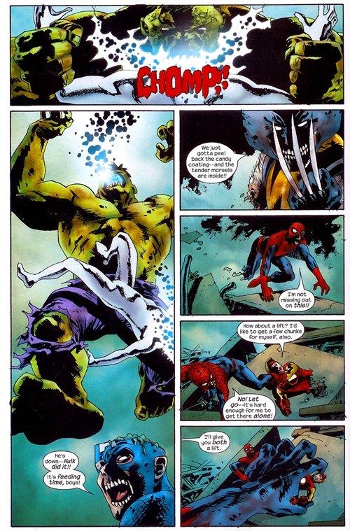 Hulk eats Silver Surfer's head